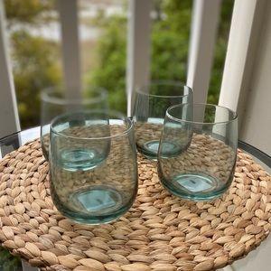 4 Stemless Wine Glasses Pier 1 Jade Green NWT